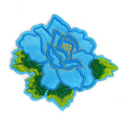 Patch - Strijkplaatje Roos Blauw