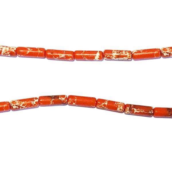Oranje howliet Halfedelsteen kraal staafje