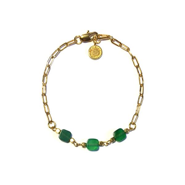 Schakelarmband Emerald groen agaat