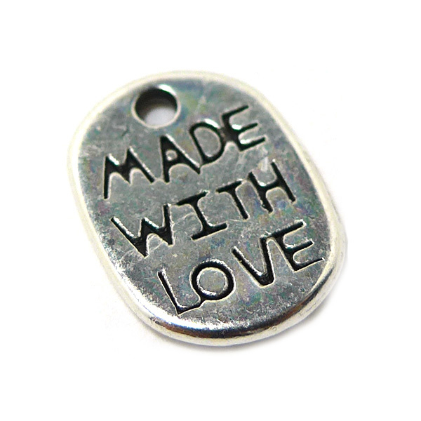 Label bedel Made with love zilver