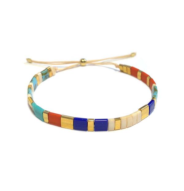 Tila Armband Blauw beige goud