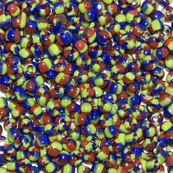 Rocailles gestreept kleurenmix Blauw groen rood