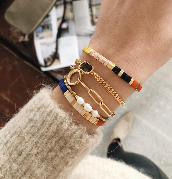 Tila Armband multicolor zwart goud