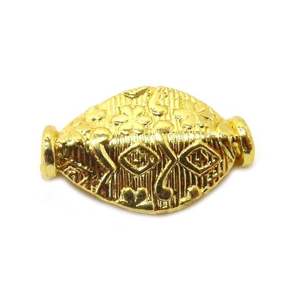 Ovaal bewerkte gouden kraal