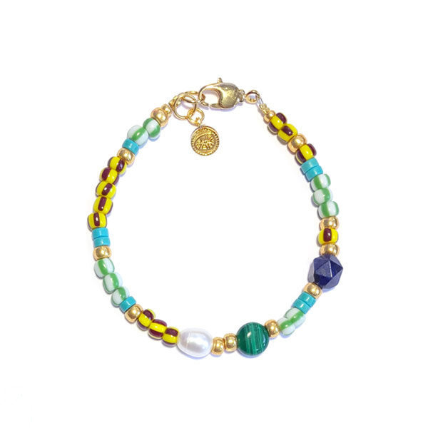 Armband Rocailles Stripes Blauw