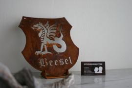 Wapenschild-Beesel in Cortenstaal 219 x 244 mm