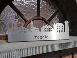 "Skyline Tegelen met tekst ""Tegele"" RVS 354 x 155mm"