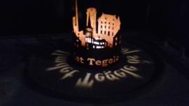 Waxinelicht Tegelen  met tekst Ø 112 x 155mm