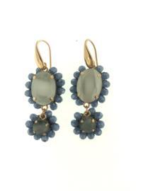 Oorbel dubbel ovaal grijs blauw steentjes - Firenze