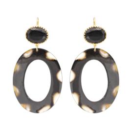 Gooische oorbel leopard black onxy stone earhook gold plating - Fien