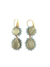 Oorbel dubbel drup groen turquoise steentjes goud - Firenze