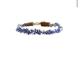 Armband blauw wit leer - Ibu