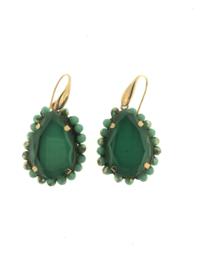 Oorbel donker groen macha goud - Firenze