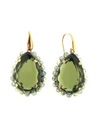 Oorbel druppel groene steen transparant - Firenze