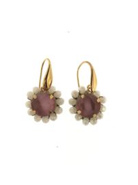 Oorbel rond roze creme steentjes goud - Firenze