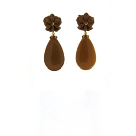 Oorbel flower drop brown - Imitch Exclusive