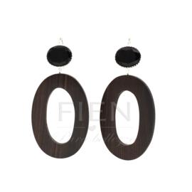 De Gooische oorbel - Fien en Pauline oorbellen -  Wood & Black Onyx