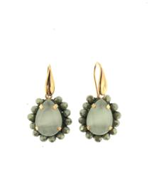 Oorbel druppel groen grijs steentjes goud - Firenze