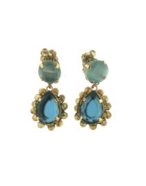Oorbel dubbel druppel blauw steentjes goud - Firenze