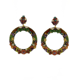 Oorbel  multicolor emaille strass -Imitch Exclusive