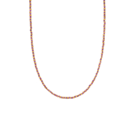 Ketting steentjes paars goud - Une a Une