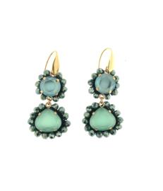 Oorbel dubbel drup turquoise blauw - Firenze