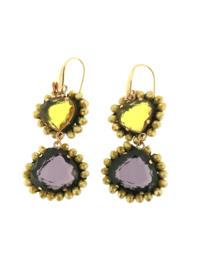 Oorbel dubbel drup geel paars steentjes - Firenze