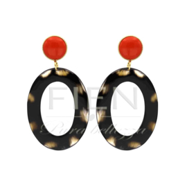 De gooische oorbel - oranje - Fien en Pauline oorbellen