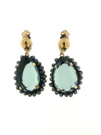 Oorbel clips steen blauw - Firenze