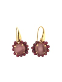 Oorbel rond roze rode steentjes goud - Firenze