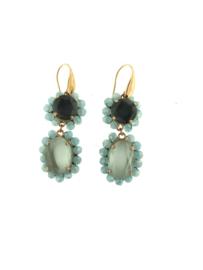 Oorbel paars blauw steentjes goud - Firenze