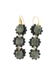 Oorbel drie rondjes hanger grijs zwart steentjes - Firenze