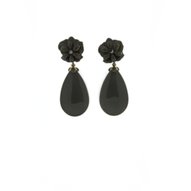 Oorbel flower drop black - Imitch Exclusive