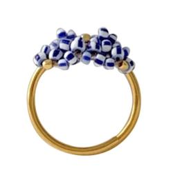 Ring blauw wit goud verstelbaar - Ibu