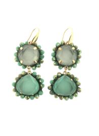 Oorbel dubbel drup turquoise grijs steentjes - Firenze