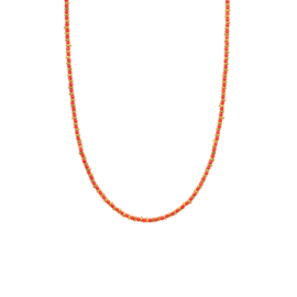 Ketting steentjes rood goud - Une a Une