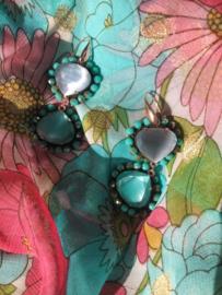 Oorbel dubbel drop turquoise grijs goud - Firenze