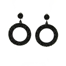 Oorbel swarovski black round - Imitch Exclusive