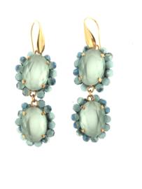 Oorbel dubbel ovaal licht blauw steentjes - Firenze