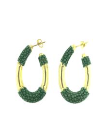 Creool klein ovaal groen goud - Barong Barong