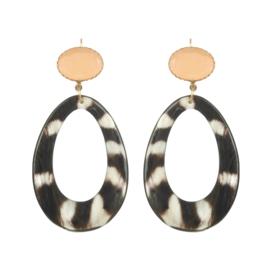 Urban Chic natural zebra peach stone earhook gold plating - Fien