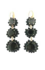 Oorbel drup hangend zwart steentjes goud - Firenze