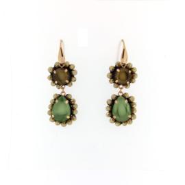 Oorbel dubbel drup groen  en licht bruin
