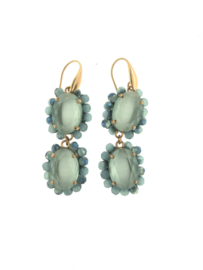 Oorbel dubbel ovaal blauw steentjes goud - Firenze