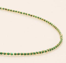 Ketting steentjes groen goud - Une a Une