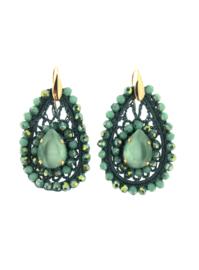 Oorbel turquoise groen steentjes - Firenze