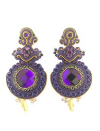 Oorbel purple stone large - Imitch Exclusive