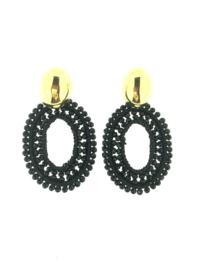 Earring oval silk black - LOTT. Gioielli