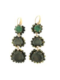Oorbel drie dubbel grijs groen steentjes - Firenze
