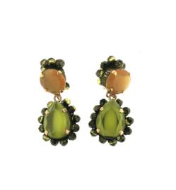 Oorbel dubbel groen oranje steentjes - Firenze
